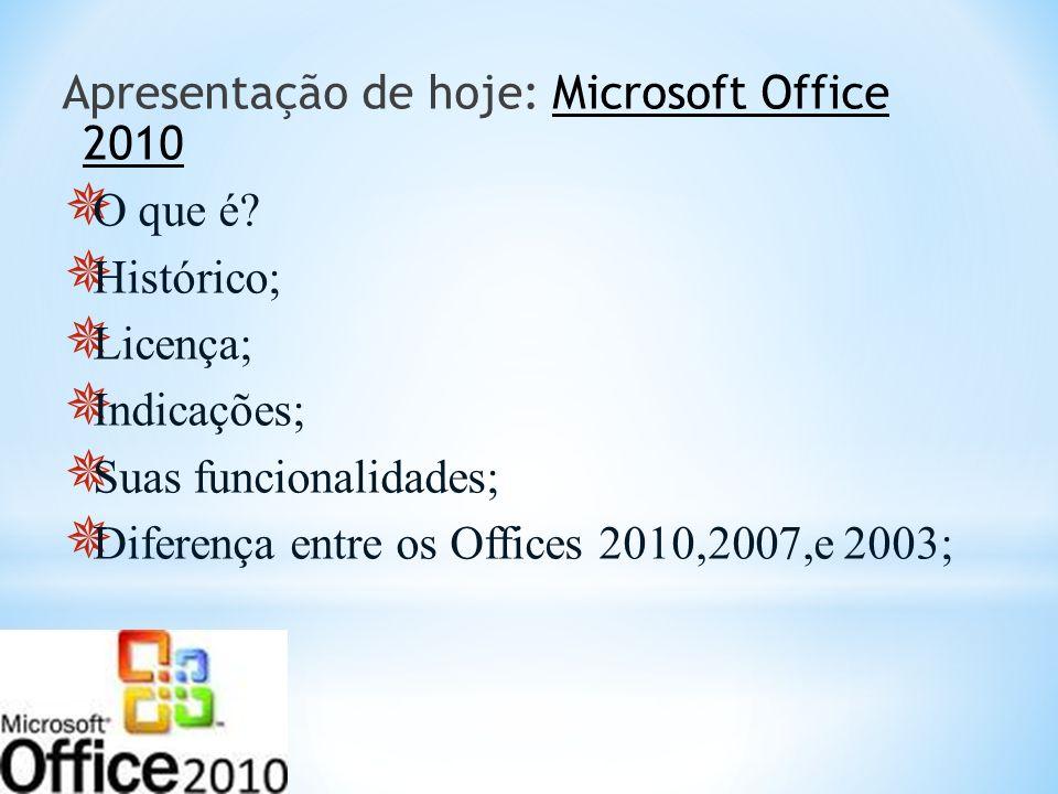 Apresentação de hoje: Microsoft Office 2010 O que é? Histórico; Licença; Indicações; Suas funcionalidades; Diferença entre os Offices 2010,2007,e 2003