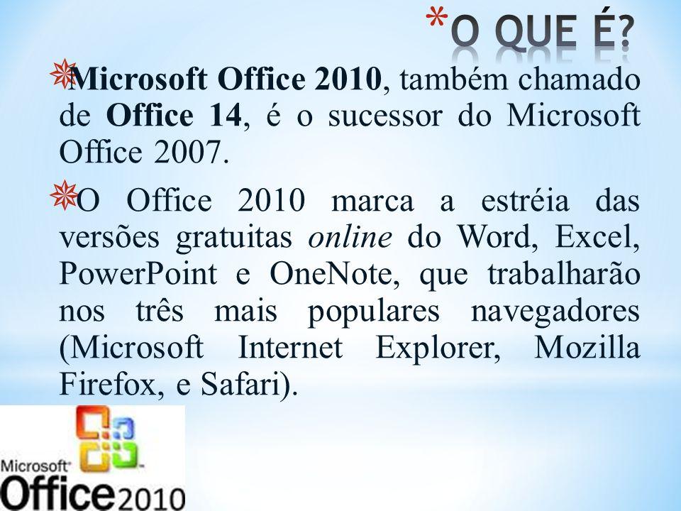 Microsoft Office 2010, também chamado de Office 14, é o sucessor do Microsoft Office 2007. O Office 2010 marca a estréia das versões gratuitas online