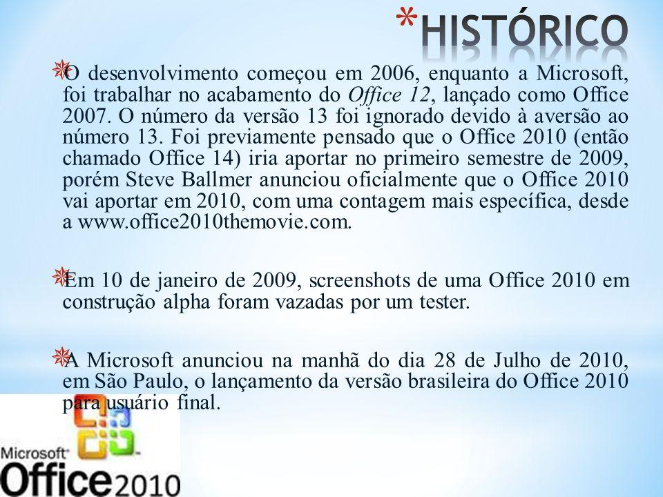 O desenvolvimento começou em 2006, enquanto a Microsoft, foi trabalhar no acabamento do Office 12, lançado como Office 2007. O número da versão 13 foi