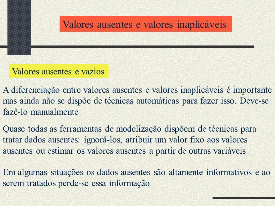 Valores ausentes e valores inaplicáveis Valores ausentes e vazios A diferenciação entre valores ausentes e valores inaplicáveis é importante mas ainda