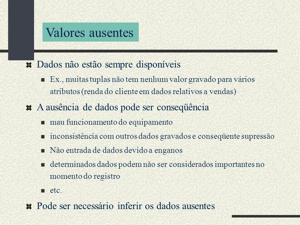 Valores ausentes Dados não estão sempre disponíveis Ex., muitas tuplas não tem nenhum valor gravado para vários atributos (renda do cliente em dados r