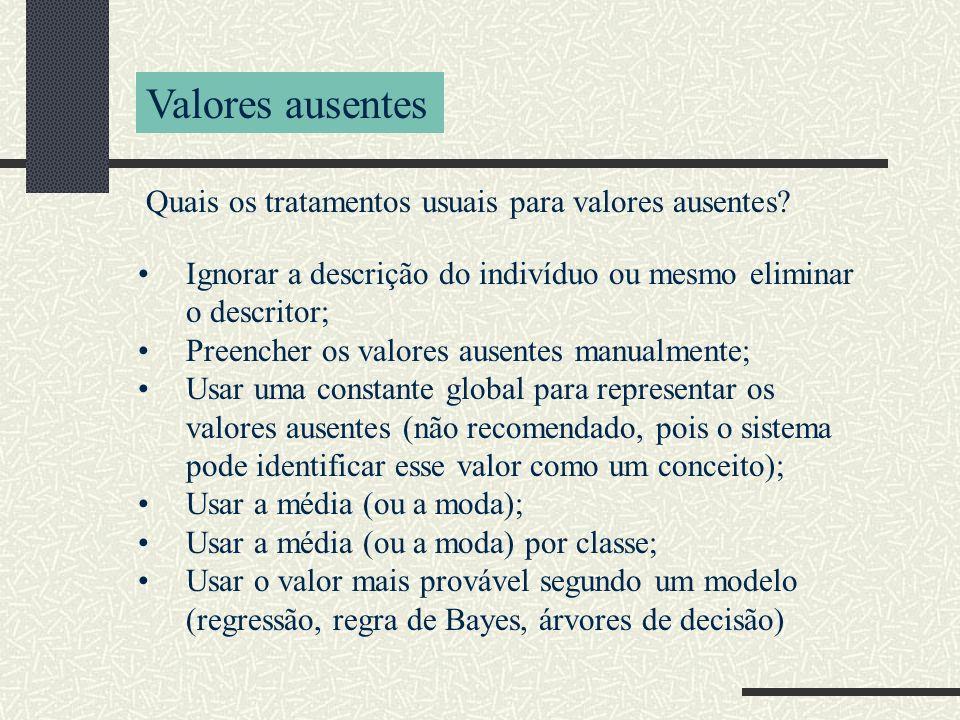 Quais os tratamentos usuais para valores ausentes? Valores ausentes Ignorar a descrição do indivíduo ou mesmo eliminar o descritor; Preencher os valor