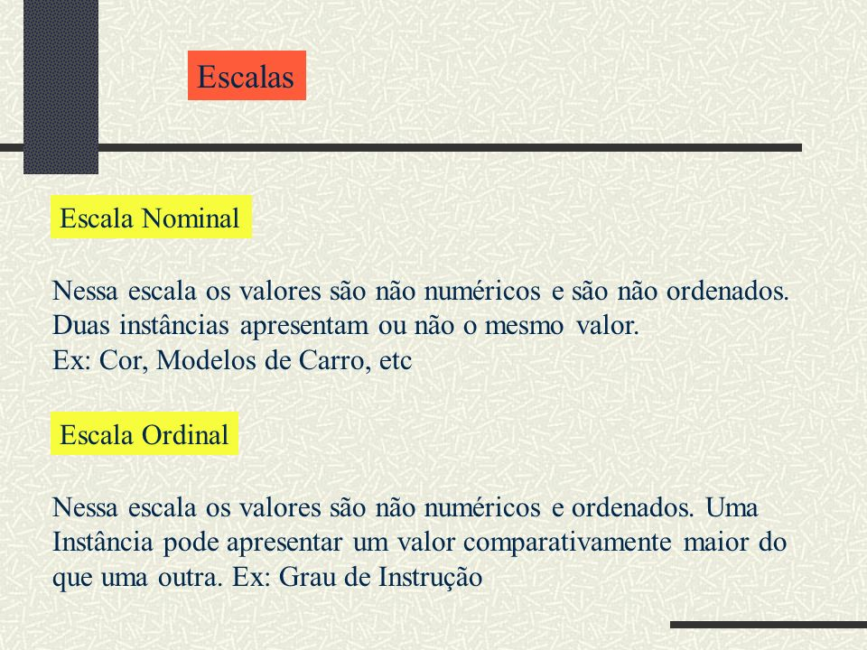 Escalas Escala Nominal Nessa escala os valores são não numéricos e são não ordenados. Duas instâncias apresentam ou não o mesmo valor. Ex: Cor, Modelo