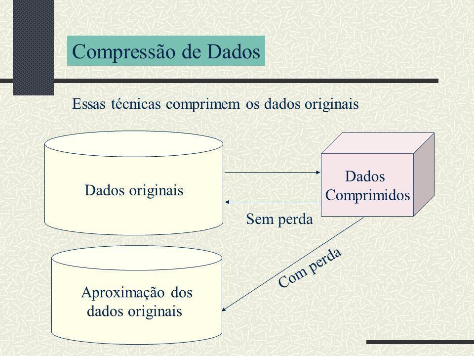 Compressão de Dados Essas técnicas comprimem os dados originais Dados originais Dados Comprimidos Sem perda Aproximação dos dados originais Com perda
