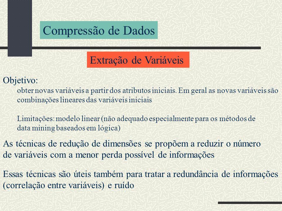 Compressão de Dados Extração de Variáveis Objetivo: obter novas variáveis a partir dos atributos iniciais. Em geral as novas variáveis são combinações