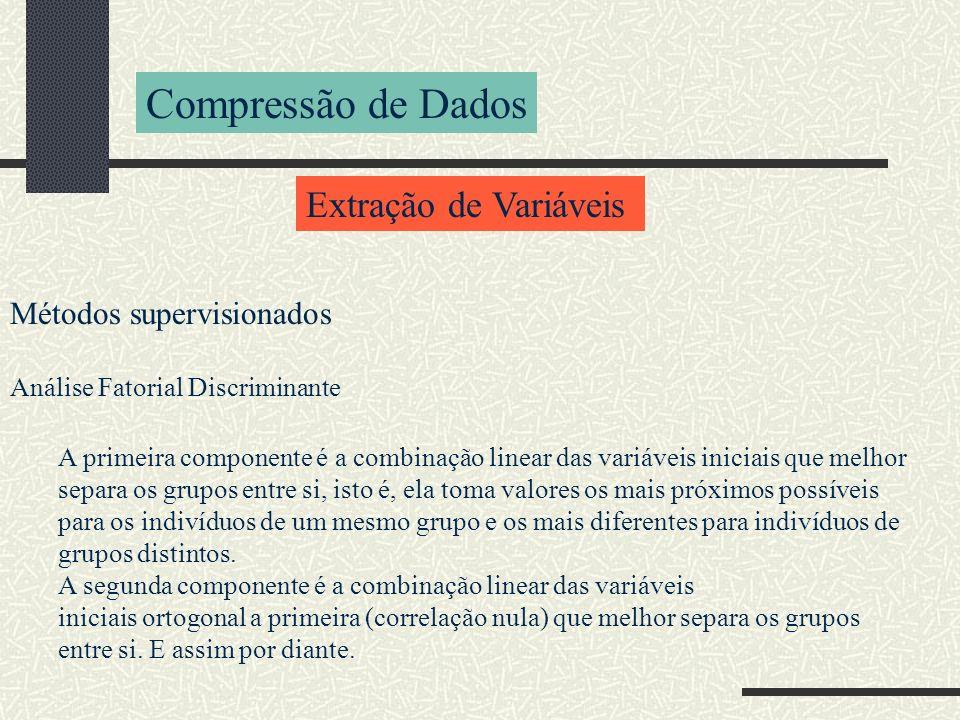 Compressão de Dados Extração de Variáveis Métodos supervisionados Análise Fatorial Discriminante A primeira componente é a combinação linear das variá