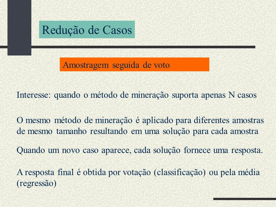 Redução de Casos Amostragem seguida de voto O mesmo método de mineração é aplicado para diferentes amostras de mesmo tamanho resultando em uma solução