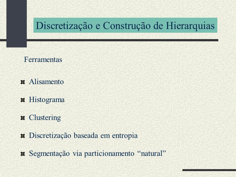 Discretização e Construção de Hierarquias Ferramentas Alisamento Histograma Clustering Discretização baseada em entropia Segmentação via particionamen