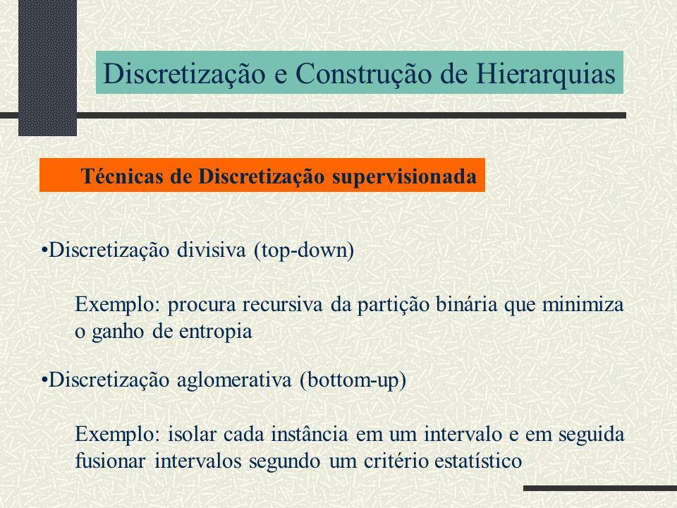 Discretização e Construção de Hierarquias Discretização divisiva (top-down) Exemplo: procura recursiva da partição binária que minimiza o ganho de ent