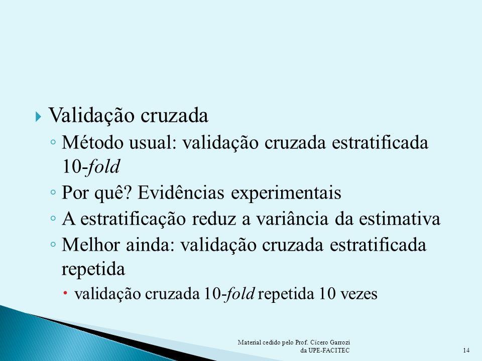 Validação cruzada Método usual: validação cruzada estratificada 10-fold Por quê? Evidências experimentais A estratificação reduz a variância da estima