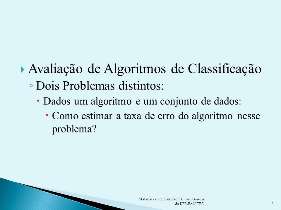 Avaliação de Algoritmos de Classificação Dois Problemas distintos: Dados um algoritmo e um conjunto de dados: Como estimar a taxa de erro do algoritmo
