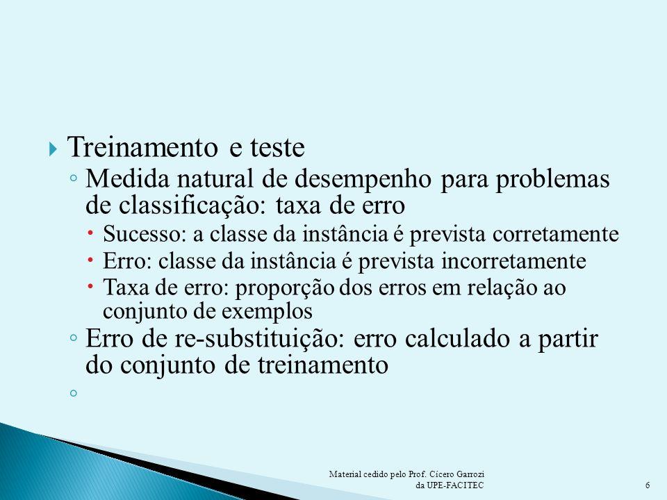 Treinamento e teste Medida natural de desempenho para problemas de classificação: taxa de erro Sucesso: a classe da instância é prevista corretamente