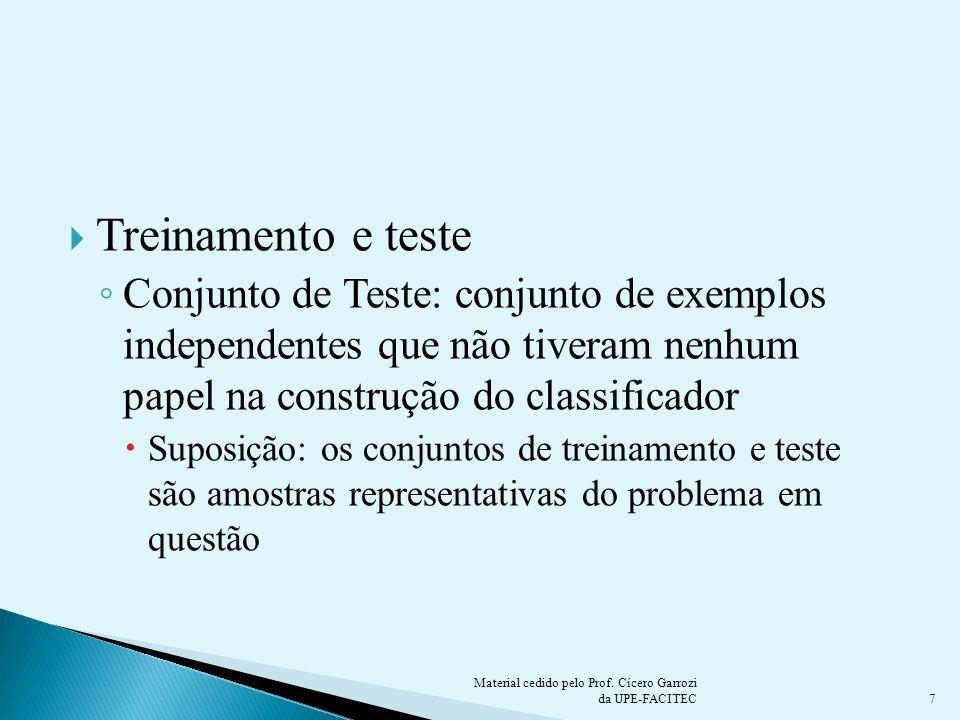 Treinamento e teste Conjunto de Teste: conjunto de exemplos independentes que não tiveram nenhum papel na construção do classificador Suposição: os co