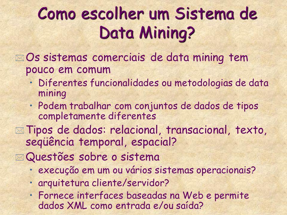 Como escolher um Sistema de Data Mining? * Os sistemas comerciais de data mining tem pouco em comum Diferentes funcionalidades ou metodologias de data