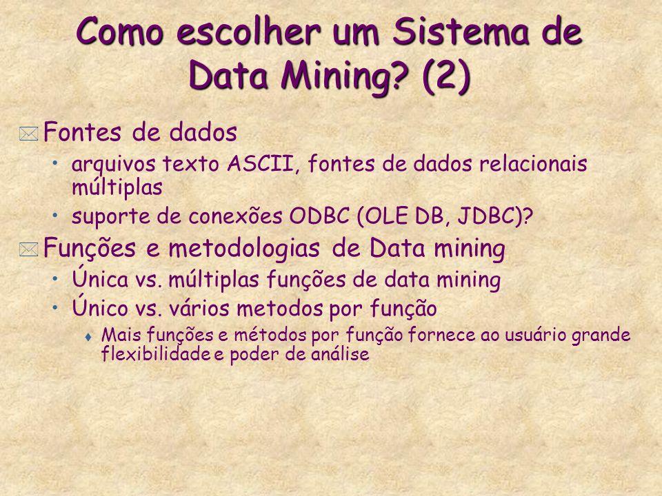 Como escolher um Sistema de Data Mining? (2) * Fontes de dados arquivos texto ASCII, fontes de dados relacionais múltiplas suporte de conexões ODBC (O