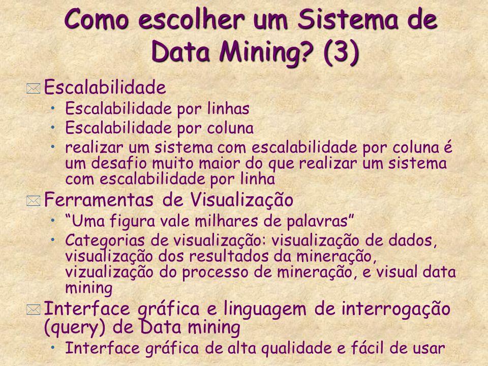Como escolher um Sistema de Data Mining? (3) * Escalabilidade Escalabilidade por linhas Escalabilidade por coluna realizar um sistema com escalabilida