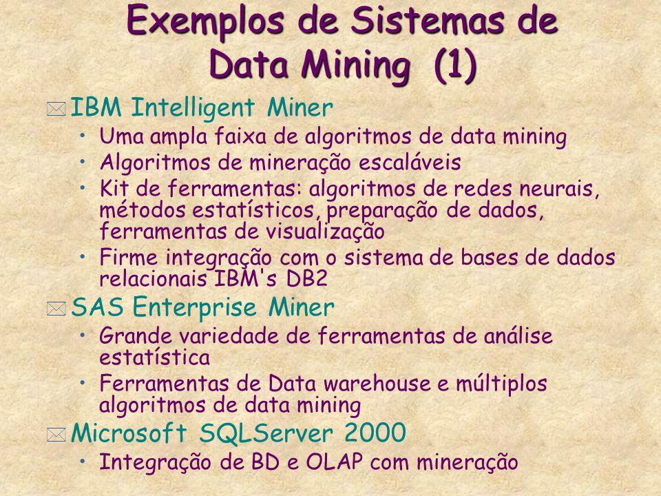 Exemplos de Sistemas de Data Mining (1) * IBM Intelligent Miner Uma ampla faixa de algoritmos de data mining Algoritmos de mineração escaláveis Kit de
