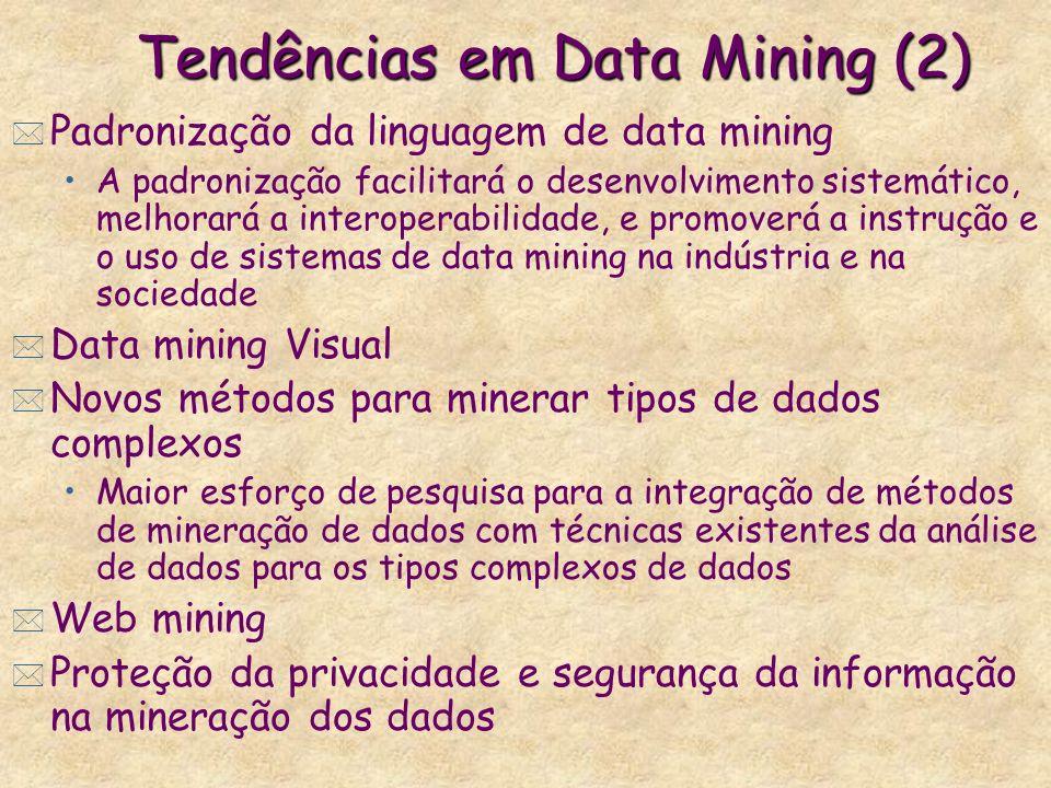 Tendências em Data Mining (2) * Padronização da linguagem de data mining A padronização facilitará o desenvolvimento sistemático, melhorará a interope