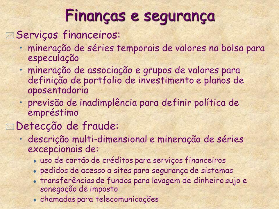 Finanças e segurança * Serviços financeiros: mineração de séries temporais de valores na bolsa para especulação mineração de associação e grupos de va