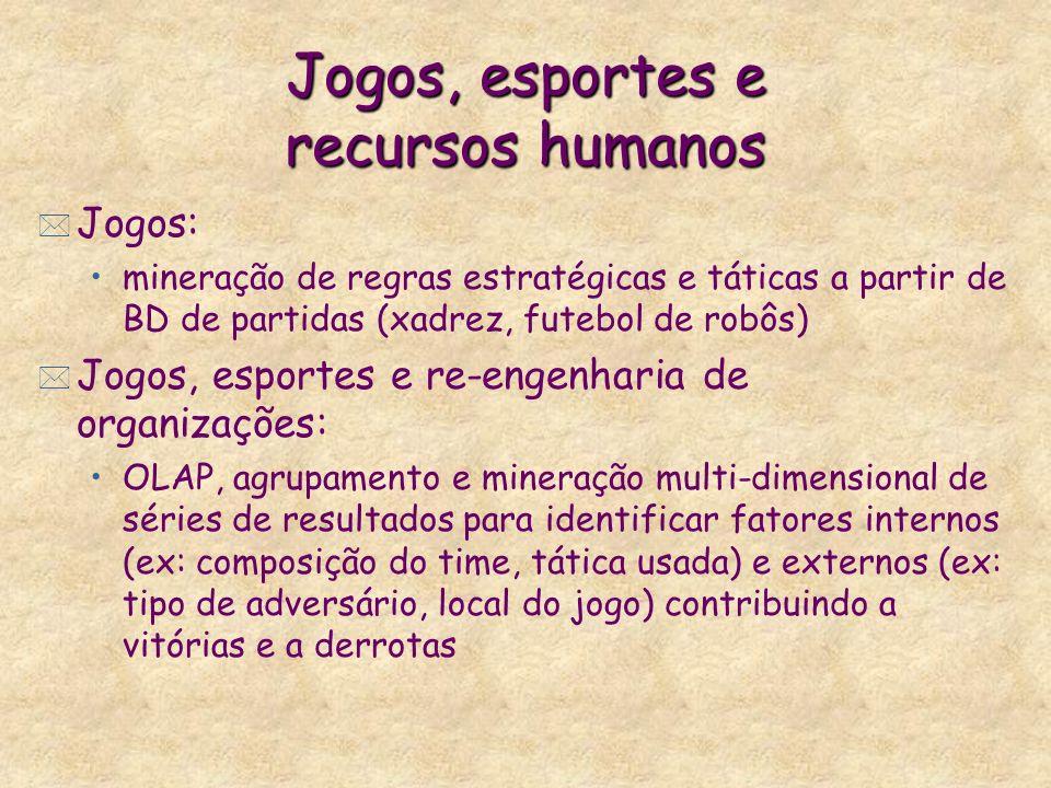 Jogos, esportes e recursos humanos * Jogos: mineração de regras estratégicas e táticas a partir de BD de partidas (xadrez, futebol de robôs) * Jogos,