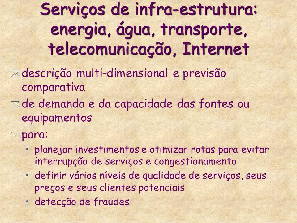Serviços de infra-estrutura: energia, água, transporte, telecomunicação, Internet * descrição multi-dimensional e previsão comparativa * de demanda e