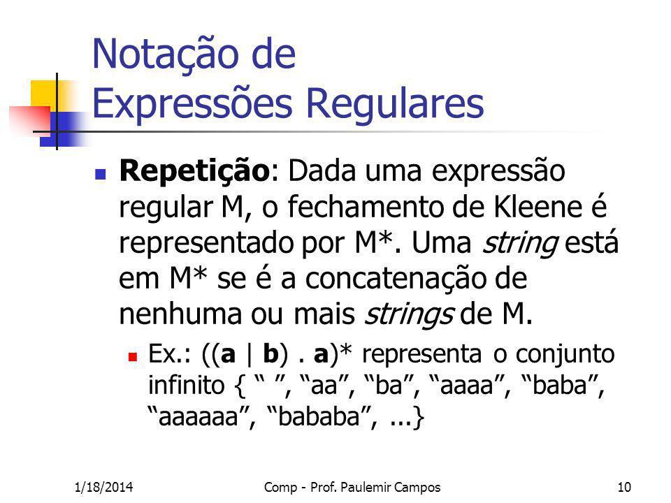 1/18/2014Comp - Prof. Paulemir Campos10 Notação de Expressões Regulares Repetição: Dada uma expressão regular M, o fechamento de Kleene é representado