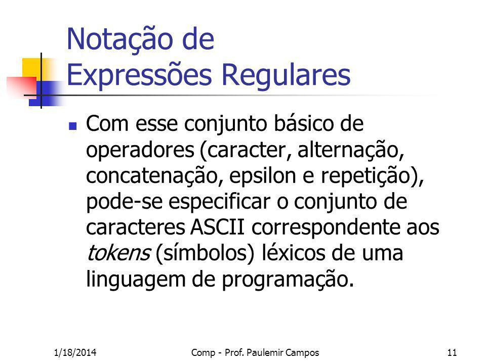 1/18/2014Comp - Prof. Paulemir Campos11 Notação de Expressões Regulares Com esse conjunto básico de operadores (caracter, alternação, concatenação, ep