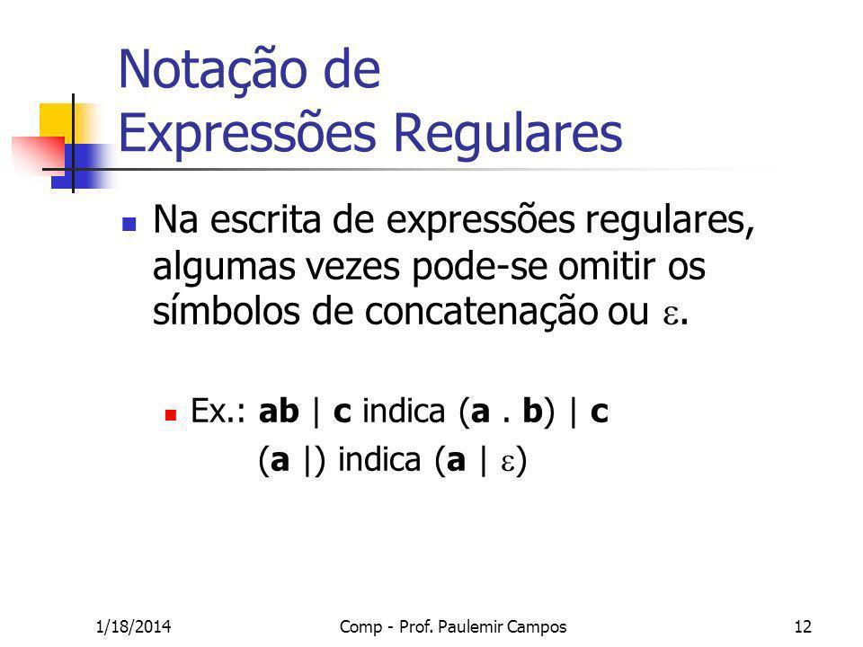 1/18/2014Comp - Prof. Paulemir Campos12 Notação de Expressões Regulares Na escrita de expressões regulares, algumas vezes pode-se omitir os símbolos d