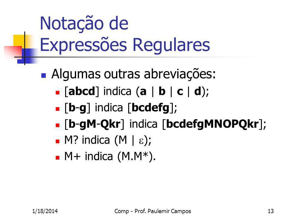 1/18/2014Comp - Prof. Paulemir Campos13 Notação de Expressões Regulares Algumas outras abreviações: [abcd] indica (a | b | c | d); [b-g] indica [bcdef
