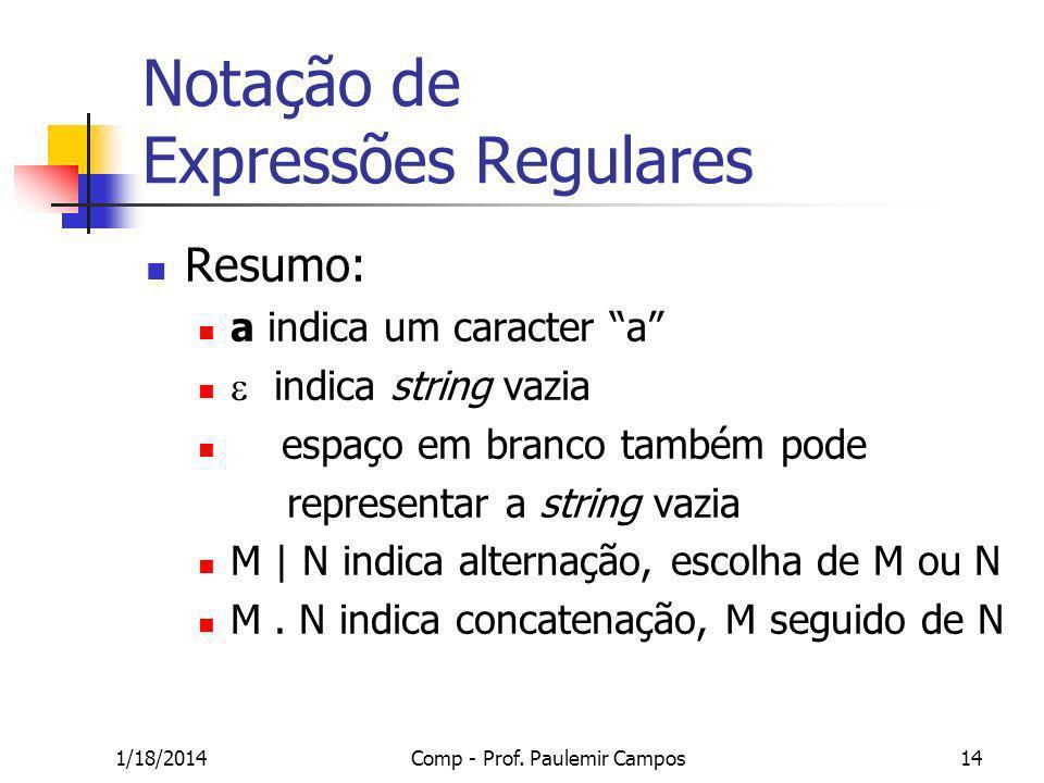 1/18/2014Comp - Prof. Paulemir Campos14 Notação de Expressões Regulares Resumo: a indica um caracter a indica string vazia espaço em branco também pod