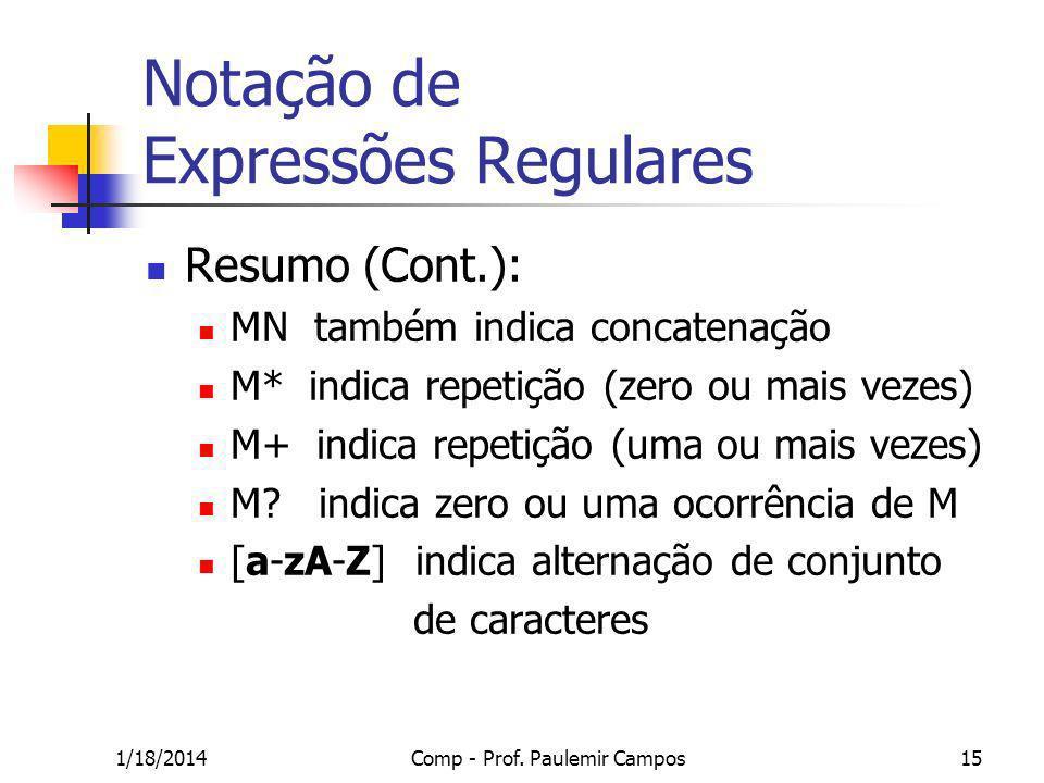 1/18/2014Comp - Prof. Paulemir Campos15 Notação de Expressões Regulares Resumo (Cont.): MN também indica concatenação M* indica repetição (zero ou mai