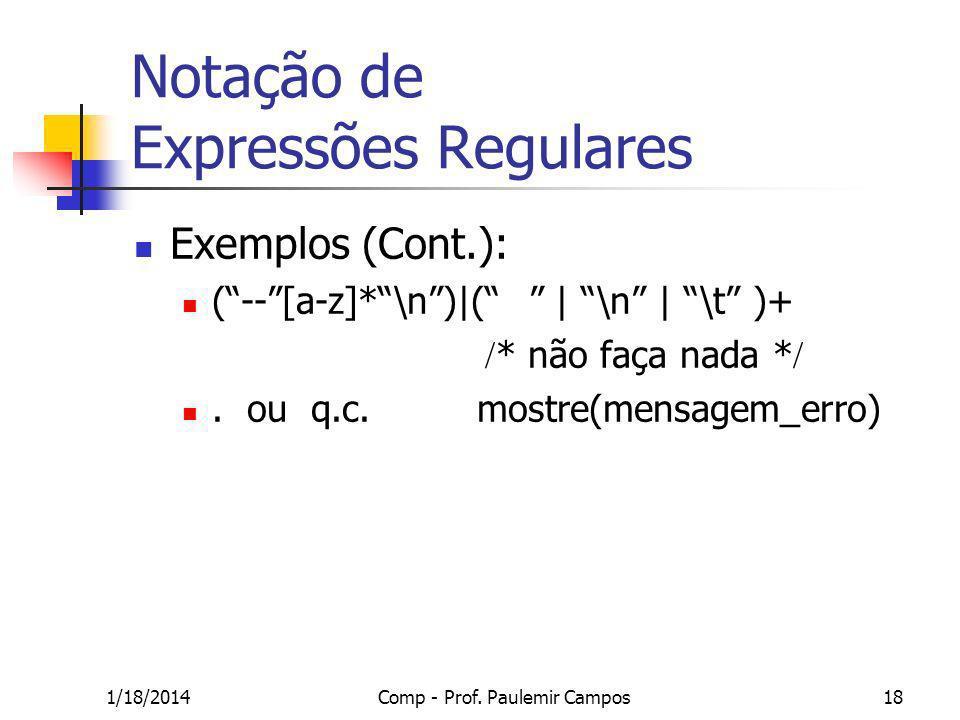 1/18/2014Comp - Prof. Paulemir Campos18 Notação de Expressões Regulares Exemplos (Cont.): (--[a-z]*\n)|( | \n | \t )+ * não faça nada *. ou q.c. mostr