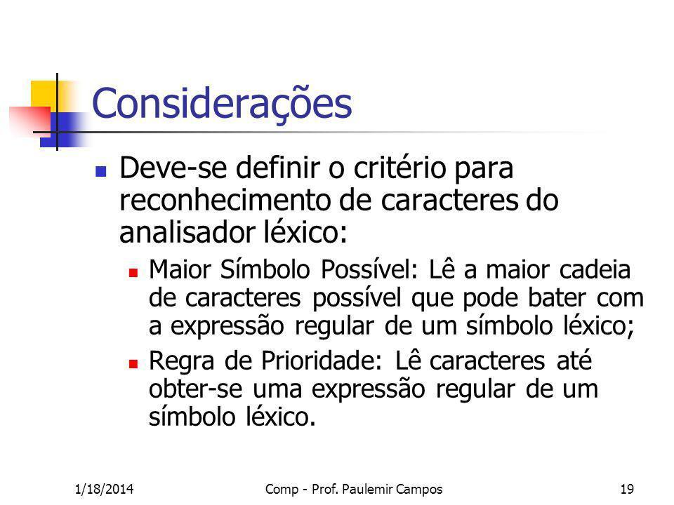 1/18/2014Comp - Prof. Paulemir Campos19 Considerações Deve-se definir o critério para reconhecimento de caracteres do analisador léxico: Maior Símbolo