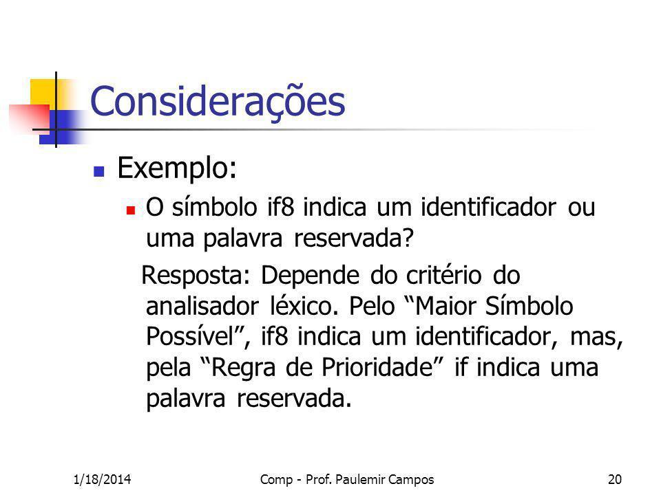 1/18/2014Comp - Prof. Paulemir Campos20 Considerações Exemplo: O símbolo if8 indica um identificador ou uma palavra reservada? Resposta: Depende do cr