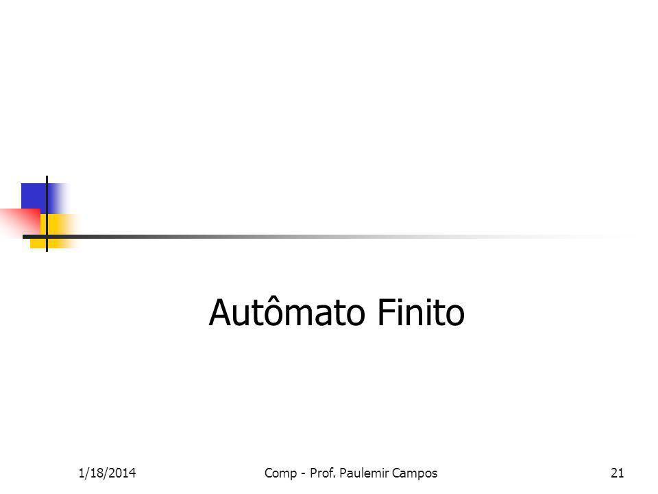 1/18/2014Comp - Prof. Paulemir Campos21 Autômato Finito