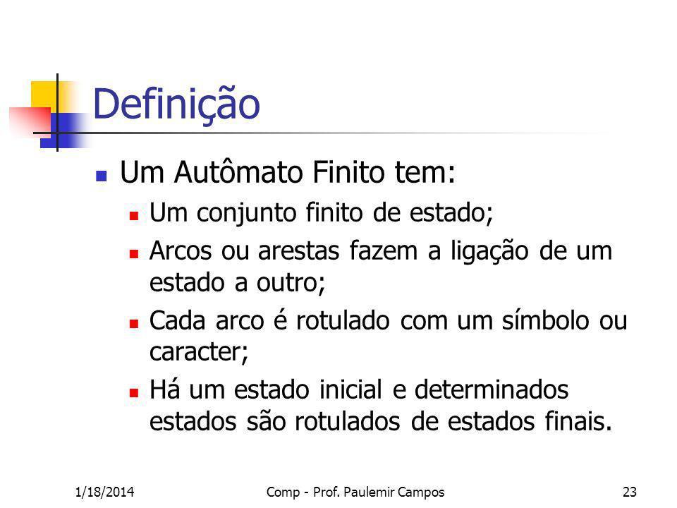 1/18/2014Comp - Prof. Paulemir Campos23 Definição Um Autômato Finito tem: Um conjunto finito de estado; Arcos ou arestas fazem a ligação de um estado