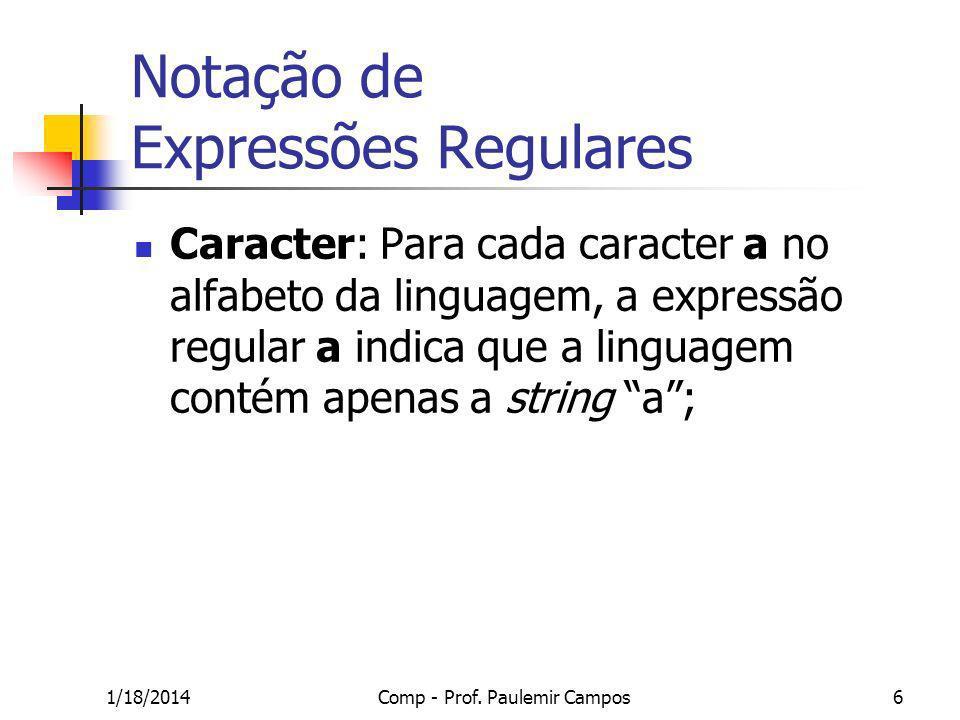 1/18/2014Comp - Prof. Paulemir Campos6 Notação de Expressões Regulares Caracter: Para cada caracter a no alfabeto da linguagem, a expressão regular a