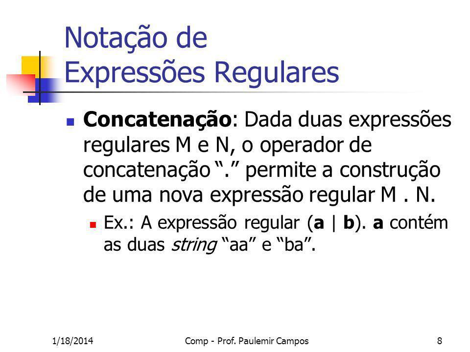 1/18/2014Comp - Prof. Paulemir Campos8 Notação de Expressões Regulares Concatenação: Dada duas expressões regulares M e N, o operador de concatenação.