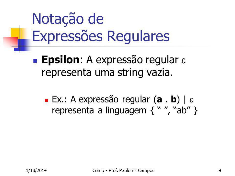 1/18/2014Comp - Prof. Paulemir Campos9 Notação de Expressões Regulares Epsilon: A expressão regular representa uma string vazia. Ex.: A expressão regu