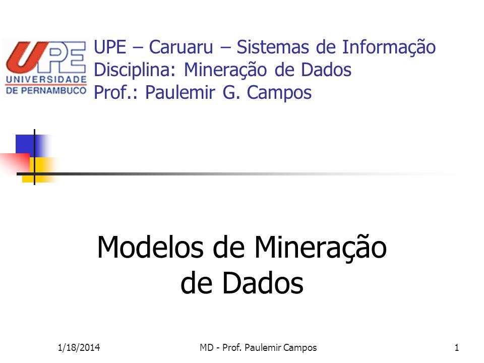 1/18/2014MD - Prof. Paulemir Campos1 UPE – Caruaru – Sistemas de Informação Disciplina: Mineração de Dados Prof.: Paulemir G. Campos Modelos de Minera