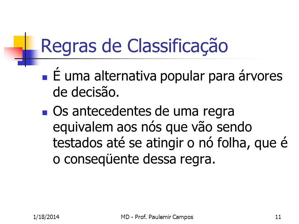 1/18/2014MD - Prof. Paulemir Campos11 Regras de Classificação É uma alternativa popular para árvores de decisão. Os antecedentes de uma regra equivale