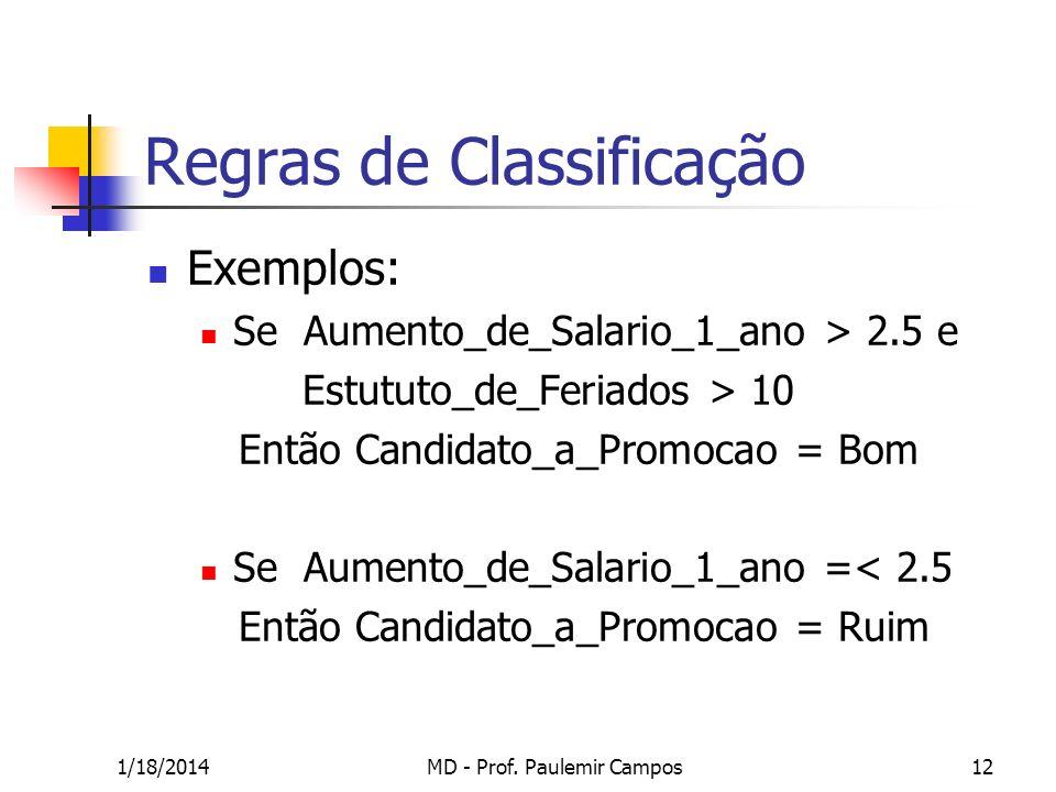 1/18/2014MD - Prof. Paulemir Campos12 Regras de Classificação Exemplos: Se Aumento_de_Salario_1_ano > 2.5 e Estututo_de_Feriados > 10 Então Candidato_