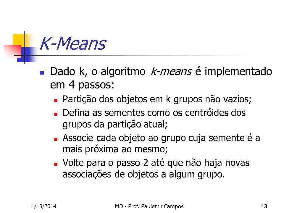 1/18/2014MD - Prof. Paulemir Campos13 K-Means Dado k, o algoritmo k-means é implementado em 4 passos: Partição dos objetos em k grupos não vazios; Def