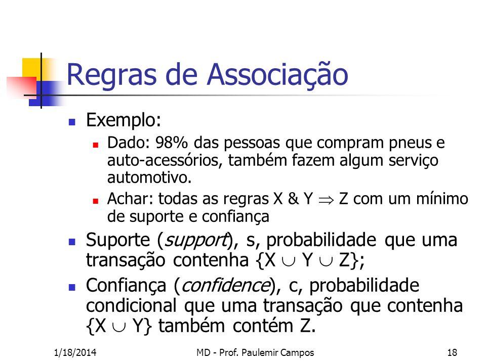1/18/2014MD - Prof. Paulemir Campos18 Regras de Associação Exemplo: Dado: 98% das pessoas que compram pneus e auto-acessórios, também fazem algum serv