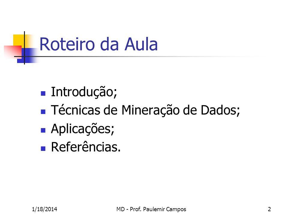 1/18/2014MD - Prof. Paulemir Campos2 Roteiro da Aula Introdução; Técnicas de Mineração de Dados; Aplicações; Referências.