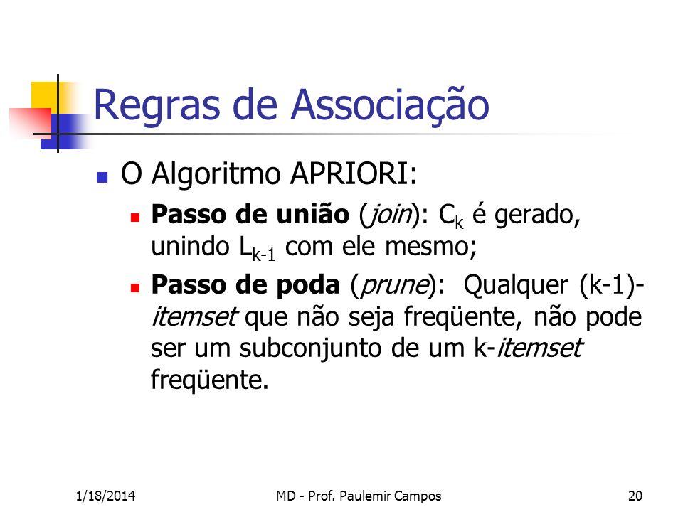 1/18/2014MD - Prof. Paulemir Campos20 Regras de Associação O Algoritmo APRIORI: Passo de união (join): C k é gerado, unindo L k-1 com ele mesmo; Passo