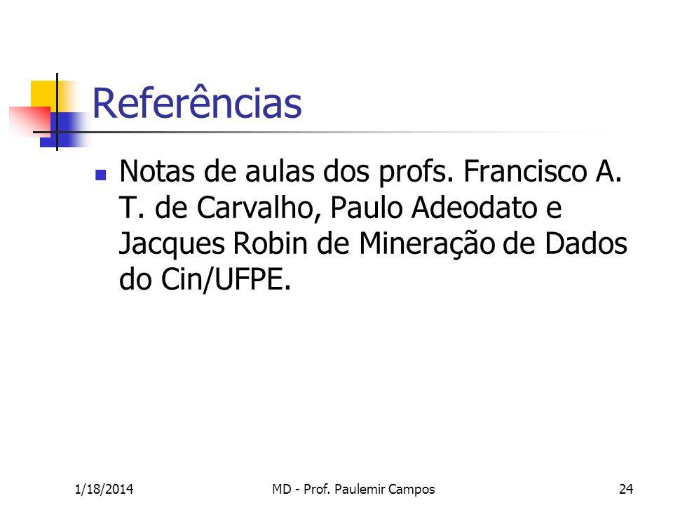 1/18/2014MD - Prof. Paulemir Campos24 Referências Notas de aulas dos profs. Francisco A. T. de Carvalho, Paulo Adeodato e Jacques Robin de Mineração d