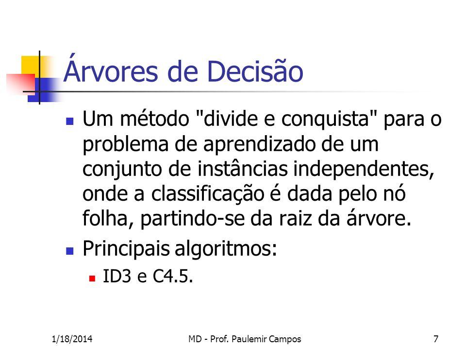 1/18/2014MD - Prof. Paulemir Campos7 Árvores de Decisão Um método