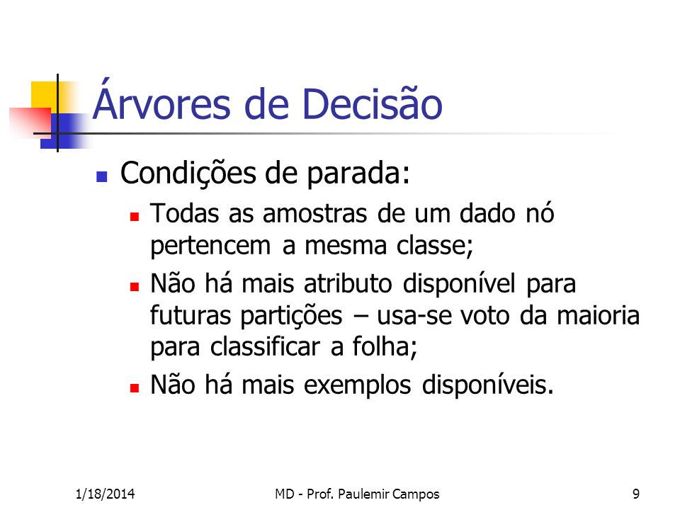 1/18/2014MD - Prof. Paulemir Campos10 Árvores de Decisão - Exemplo