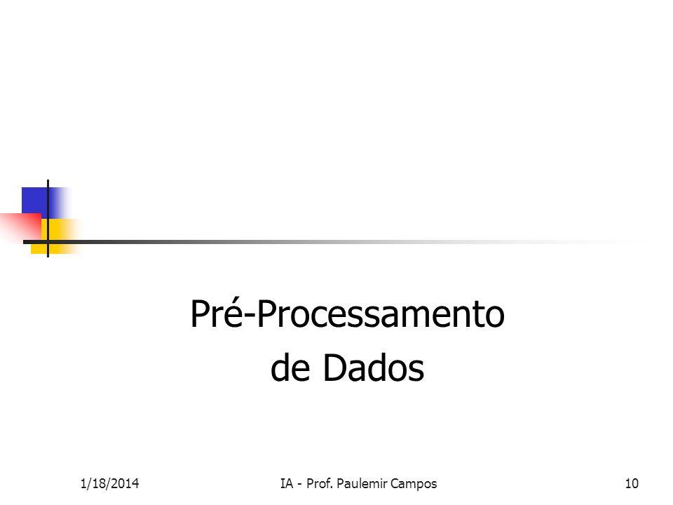 1/18/2014IA - Prof. Paulemir Campos10 Pré-Processamento de Dados